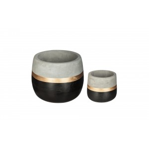 LOT DE 2 CACHES POTS RONDS CIMENT SPIRIT ATMOSPHERA