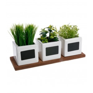 LOT DE 3 HERBES AROMATIQUES ARTIFICIELLES EN POT ATMOSPHERA