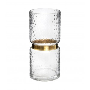 VASE EN VERRE COLLIER EN METAL H.27CM ATMOSPHERA