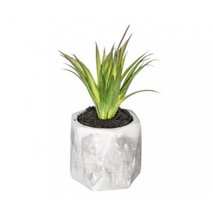 PLANTE ARTIFICIELLE EN POT EN CIMENT D7*H14CM ATMOSPHERA