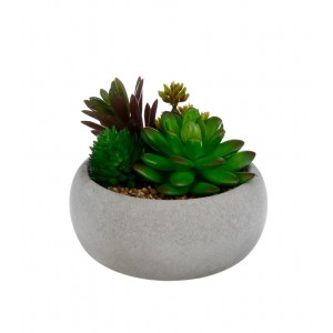 PLANTE ARTIFICIELLE EN POT EN CIMENT H.10CM ATMOSPHERA