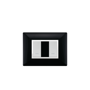 PLAQUE RECTANGULAIRE 2MODULES NOIR ALPHA