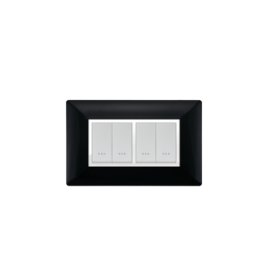 PLAQUE RECTANGULAIRE 4MODULES NOIR  ALPHA
