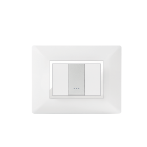 PLAQUE RECTANGULAIRE 1MODULE  BLANC/CHROMÉ ALPHA