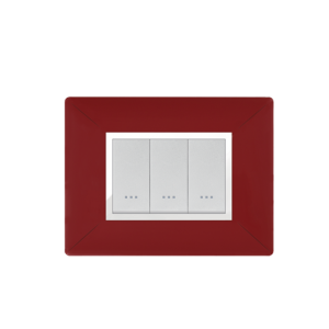 PLAQUE RECTANGULAIIRE 3MODULES ROUGE BORDEAUX ALPHA