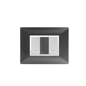 PLAQUE RECTANGULAIRE 2MODULES NOIR MÉTALLISÉ ALPHA