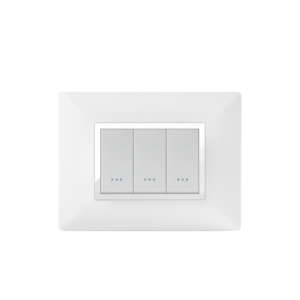PLAQUE RECTANGULAIRE 3MODULES BLANC CHROMÉ ALPHA
