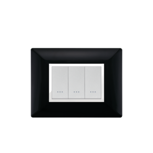 PLAQUE RECTANGULAIRE 3MODULES NOIR ALPHA