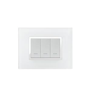 PLAQUE RECTANGULAIRE 3MODULES VERRE BLANC ALPHA