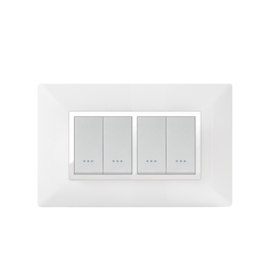PLAQUE RECTANGULAIRE 4MODULES  BLANC/CHROMÉ ALPHA