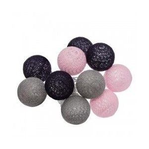 GUIRLANDE LED10 BOULES Ø 6CM ROSE/NOIR/GRIS ATMOSPHERA