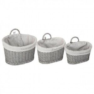 PANIER MUR+ANSE CHIC GRIS 3 PIECES ATMOSPHERA